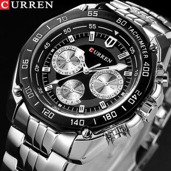 Currende luxe homme quartz pleine en acier inoxydable montre décontracté militaire Sport hommes robe montre-bracelet Gentleman