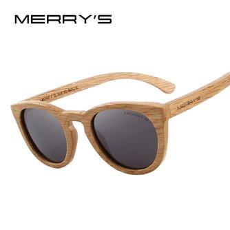 MERRYSfait à la main en bois lunettes de soleil hommes/femmes rétro polarisé lunettes de soleil 100% UV Protection S5268