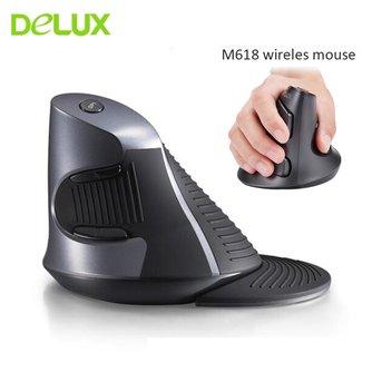 Delux M618 souris ergonomique verticale sans fil ordinateur Gamer 5D Mause 800/1200/1600 DPI USB souris de jeu optique pour ordinateur portable