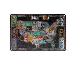 """Plaque Décorative Tin """"I Love USA"""""""