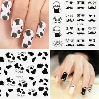 Stickers Ongles Avec Divers Black & White Patterns