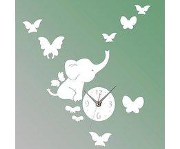 Autocollant Mural Elephant Avec Horloge