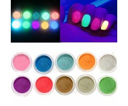 Glow In The Dark Poudre Pour Nail Art (10 Pieces)