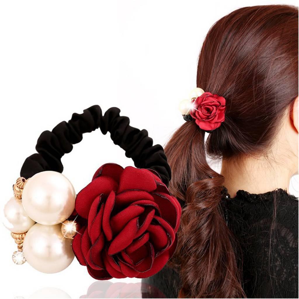 meilleur prix mode matériau sélectionné Elastic Cheveux Avec Rose