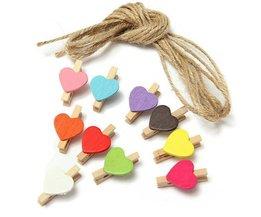 Clothespins Avec Coeur 10 Pieces