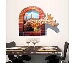 Sticker 3D Giraffe Mur Matériau PVC