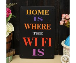 Home Is Where The Wifi Est Wandplaat Métal 30X20Cm
