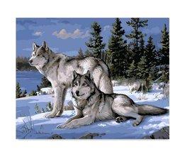 Loup Peinture Avec Nombre Huile 40X50Cm