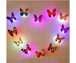 Veilleuse Papillon 3D LED Changement De Couleur 6Items