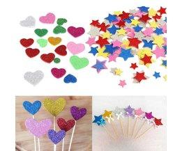 Autocollants Mousse Coeurs Glitter Flowers Étoiles 30Pcs
