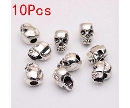 Argent Skulls Tibétaine Pour Bracelets 10 Pièces