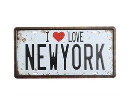 Vintage I Love New York License Plate Métal