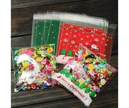 Sacs Adhésifs de Noël en Plastique pour Les Biscuits et des Bonbons 10x
