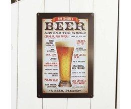 Tin Plate Avec De La Bière Imprimer