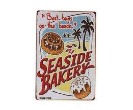 Décoration Métal Plate Avec Seaside Bakery Design