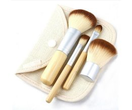 4-Piece Bamboo Maquillage Pinceaux