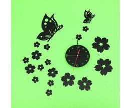 Horloge Murale 3D Avec Des Papillons