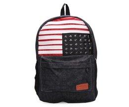 LAIENTE Canvas Backpack Avec Le Drapeau Américain