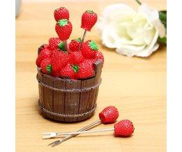 Petits Forks Dans Strawberry Jar