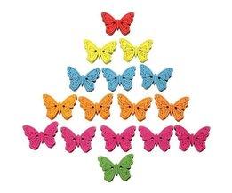Boutons Papillon En Bois En Différentes Couleurs, Ensemble De 40 Pièces