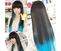 Cosplay Long Black And Blue Wig