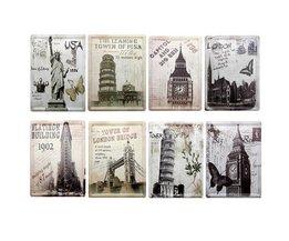 8 Stück Metall Dekorplatten Mit Dem Weltberühmten Gebäuden