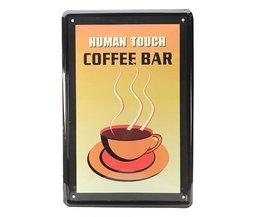 Vintage Coffee Bar Wandplatte Aus Metall