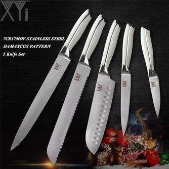 Professionelles Edelstahl 5-Stückiges Küchenmesser Set Chef Brot Santoku Utility Schäl Messer 7Cr17Mov/440A Deutschland Stil