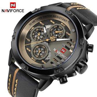 NAVIFORCE Herren Uhren Top Brand Luxus Wasserdichte 24 stunde Datum Quarzuhr Mann Leder Sport Armbanduhr Männer Wasserdichte Uhr