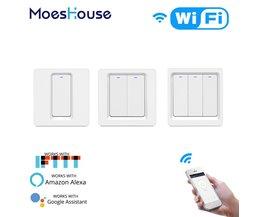 WiFi Smart Licht Schalter Push Button Smart Leben/Tuya APP Fernbedienung Arbeitet mit Alexa Google Home für Stimme control 1/2/3 Gang