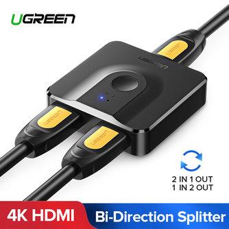 Ugreen HDMI Splitter 4K HDMI Schalter Bi-Richtung 1x2/2x1 Adapter HDMI Switcher 2 in 1 heraus für PS4/3 TV Box HDMI Schalter