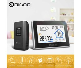 Digoo DG-TH8380 Touch Indoor Outdoor Wetter Station + 100m Prognose Sensor Thermometer Hygrometer Meter Kalender 3CH Hintergrundbeleuchtung