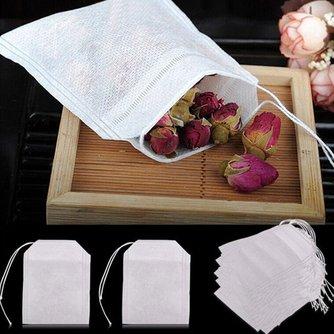 HIFUAR 100 Pcs Tee Taschen Taschen Für Tee Tasche Tee-ei Mit String Heilen Dichtung 5,5x7 CM Beutel Filter papier Teebeutel Leer Tee Taschen