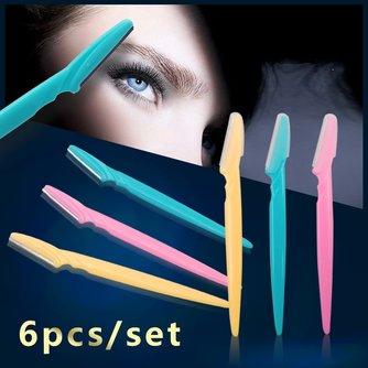 6 teile/satz Tragbare Geklingel Augenbraue Trimmer Haar Entferner Set Augenbraue Rasierer Für Make-Up Kit Edelstahl Schneiden Kosmetische Werkzeuge