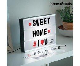 InnovaGoods Kino Leuchtkasten Gadget Tech Led-anzeige für Erinnerungen Dekoration A4 Größe Enthalten 90 Zeichen und Stift mit Radiergummi