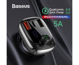 Baseus FM Transmitter Modulator Bluetooth 5,0 Car Kit Audio MP3 Player Mit PPS QC3.0 QC4.0 5A Schnelle Auto Auto ladegerät