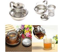 Glas Teekanne Mit Edelstahl-Filter Und