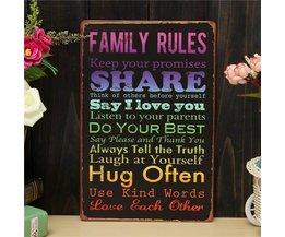 Platte Mit Familienregeln