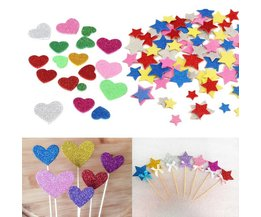 Schaum-Aufkleber Glitter Herzen Blumen Sterne 30Pcs