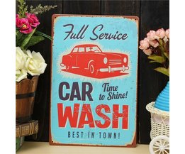 Wanddekoration Platte Car Wash