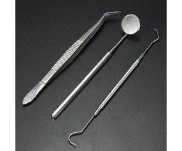 Zahnarzt Spiegel, Küretten Und Pinzette