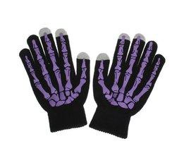 Touchscreen Handschuhe Skeleton Print