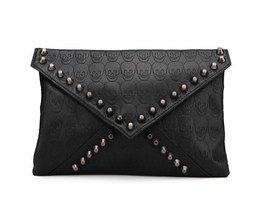 Schwarzen Frauen-Handtasche Mit Schädel-Druck Und Schwarz Studs