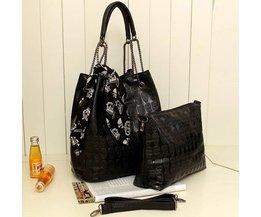 Schwarz Damen Handtaschen Mit Dem Schädel Und Gedruckte Schal
