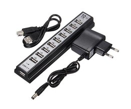 10 Port USB 2.0 Hub Mit EU-Adapter