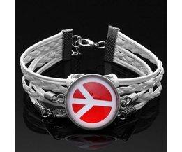 Weißes Leder-Armband Mit Stein