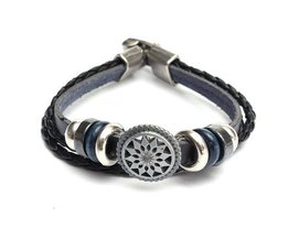 Schwarz-Leder-Armband Für Männer