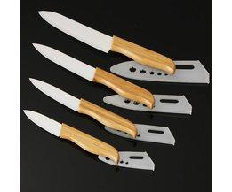 Umweltfreundliche Bambus Keramik Küchenmesser 4 Stück