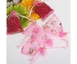 Netter Rosa Schmetterlings-Geschenk-Beutel 100 Stück