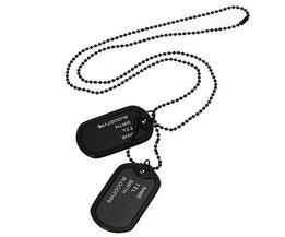 Dog Tag Halskette Schwarz Mit Zwei Armee-Bilder Für Männer